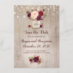 "Burgundy Floral Mason Jar Rustic Save the Date<br><div class=""desc"">Burgundy - Marsala flowers mason jar and string of lights rustic save the date invitations</div>"