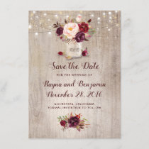 Burgundy Floral Mason Jar Rustic Save the Date
