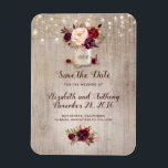"Burgundy Floral Mason Jar Rustic Save the Date Magnet<br><div class=""desc"">Burgundy flowers mason jar rustic save the date magnets</div>"