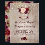 "Burgundy Floral Mason Jar Rustic Wedding Card<br><div class=""desc"">Burgundy - Marsala flowers mason jar and string of lights rustic wedding invitations</div>"
