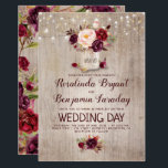 "Burgundy Floral Mason Jar Rustic Wedding Invitation<br><div class=""desc"">Burgundy - Marsala flowers mason jar and string of lights rustic wedding invitations</div>"