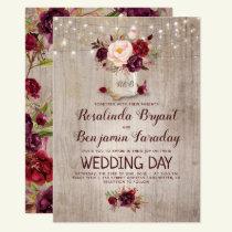 Burgundy Floral Mason Jar Rustic Wedding Invitation