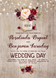 Mason jar wedding invitations zazzle burgundy floral mason jar rustic wedding invitation filmwisefo