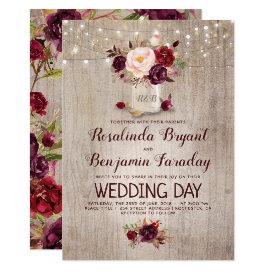 Rustic Burgundy Purple Floral Script Wedding Invitations: Burgundy Floral Mason Jar Rustic Wedding Invitation