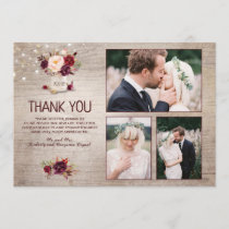 Burgundy Floral Mason Jar Wedding Thank You Photo