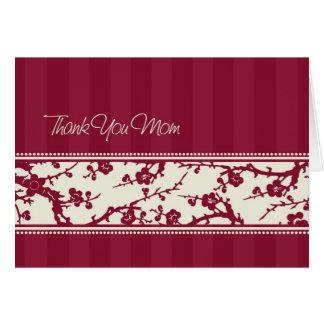Burgundy Floral Mom Wedding Day Thank You Card