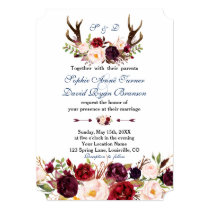 Burgundy Floral Navy Blue Antlers Monogram Wedding Invitation