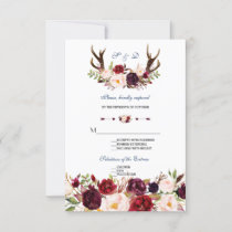 Burgundy Floral Navy Blue Antlers Wedding RSVP
