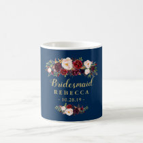 Burgundy Floral Navy Blue Bridesmaid Wedding Favor Coffee Mug