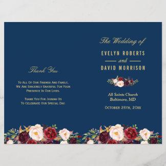 Burgundy Floral Navy Blue Folded Wedding Program