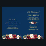 """Burgundy Floral Navy Blue Folded Wedding Program<br><div class=""""desc"""">Create the perfect wedding program with this &quot;Burgundy Floral Gold Navy Blue&quot; template. This high-quality design is easy to customize to be uniquely yours! (1) Note that the cards arrive flat, and you&#39;ll need to Fold Down the Middle to convert them to folded papers. (2) For further customization, please click...</div>"""