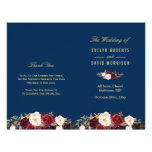Burgundy Floral Navy Blue Folded Wedding Program<br><div class='desc'>Create the perfect wedding program with this &quot;Burgundy Floral Gold Navy Blue&quot; template. This high-quality design is easy to customize to be uniquely yours! (1) Note that the cards arrive flat, and you&#39;ll need to Fold Down the Middle to convert them to folded papers. (2) For further customization, please click...</div>