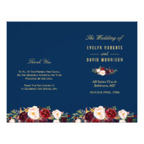 Burgundy Floral Navy Blue Folded Wedding Program