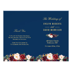 Burgundy Floral Navy Blue Folded Wedding Program at Zazzle