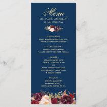 Burgundy Floral Navy Blue Gold Wedding Menu Card