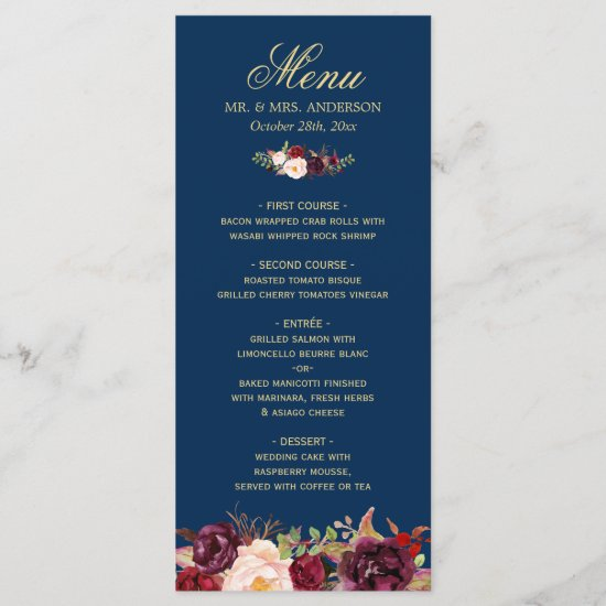 Burgundy Floral Navy Blue Gold Wedding Menu Card