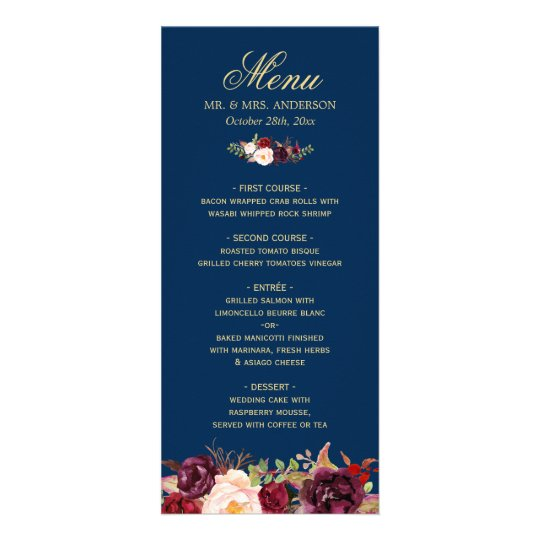 burgundy floral navy blue gold wedding menu card - Blue And Gold Wedding Invitations