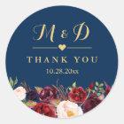 Burgundy Floral Navy Blue Monogram Wedding Favor Classic Round Sticker