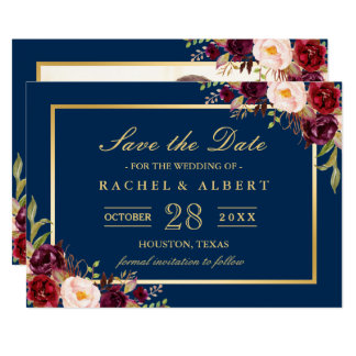Burgundy Floral Navy Blue Photo Save the Date Card