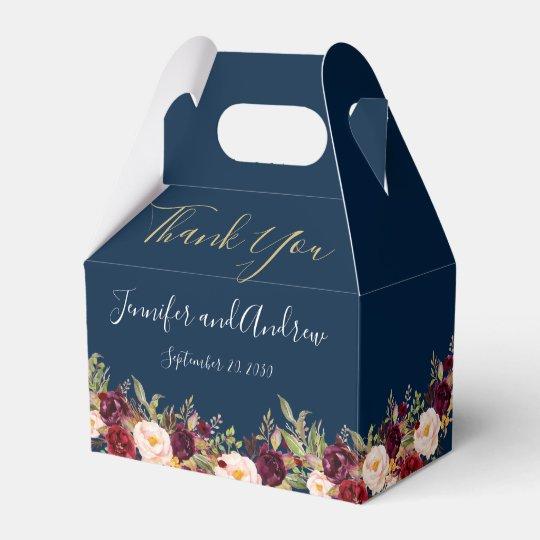 26 Rustic Wedding Ideas That Still Feel Elevated: Burgundy Floral Navy Blue Script Rustic Wedding Favor Box