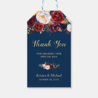Burgundy Floral Navy Blue Wedding Favor Thank You Gift Tags