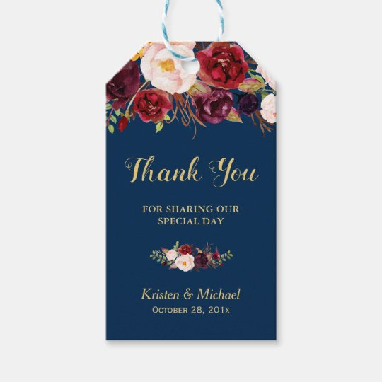 Wedding Thank You Gift Tags: Burgundy Floral Navy Blue Wedding Favor Thank You Gift