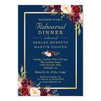 Burgundy Floral Navy Blue Wedding Rehearsal Dinner Card