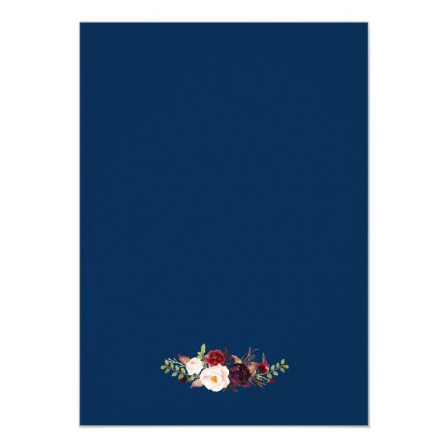 Burgundy Floral Navy Blue Wedding Rehearsal Dinner Card (back side)