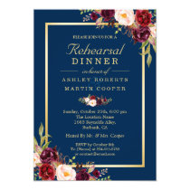 Burgundy Floral Navy Blue Wedding Rehearsal Dinner Invitation