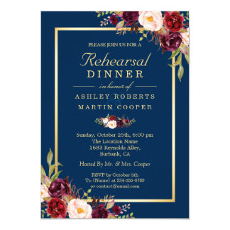Burgundy Floral Navy Blue Wedding Rehearsal Dinner Invitation