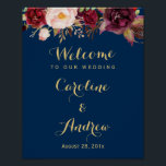 "Burgundy Floral Navy Blue Welcome Wedding Sign<br><div class=""desc"">Create your own Wedding Sign with this &quot;Burgundy Floral Navy Blue Welcome Poster&quot; template to match your wedding colors and style. This high-quality design is easy to customize to be uniquely yours! (1) The default size is 8 x 10 inches, you can change it to any size. (2) For further...</div>"