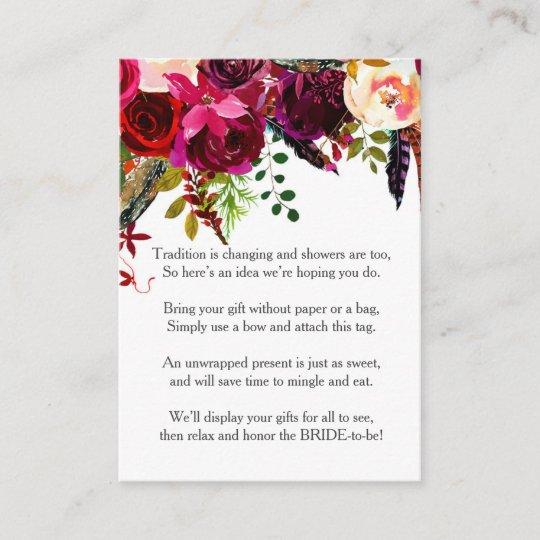 3b1a7908d6eb Burgundy Floral No Wrap Shower request tag 3979
