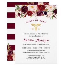 Nursing graduation invitations announcements zazzle burgundy floral nursing school graduation party card filmwisefo Image collections