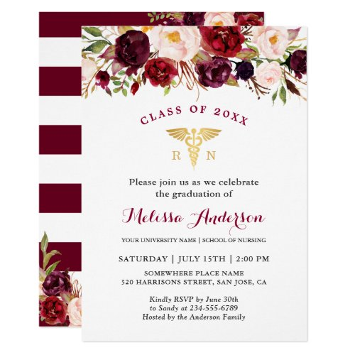 Burgundy Floral Nursing School Graduation Party Invitation