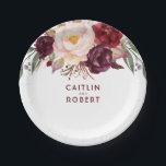"Burgundy Floral Paper Plate<br><div class=""desc"">Marsala - wine red flowers paper plates</div>"