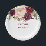"Burgundy Floral Paper Plate<br><div class=""desc"">Marsala - wine red flowers paper plates</div>"