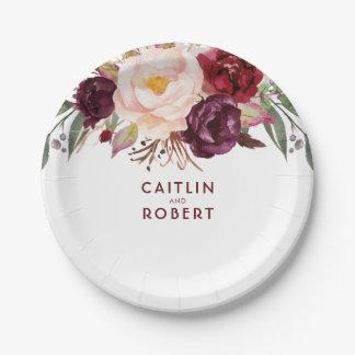 Burgundy Floral Paper Plate