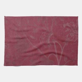 Burgundy Floral Print Background Hand Towel