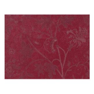 Burgundy Floral Print Background Postcard