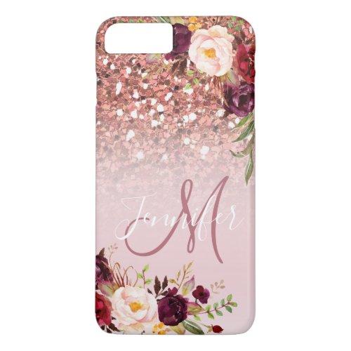 Burgundy Floral Rose Gold Glitter Sparkles Name Phone Case