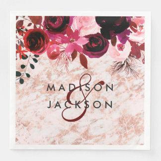 Burgundy Floral Rose Gold Marble Wedding Monogram Paper Dinner Napkin