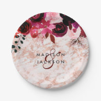 Burgundy Floral Rose Gold Marble Wedding Monogram Paper Plate