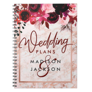 Burgundy Floral & Rose Gold Marble Wedding Planner Notebook