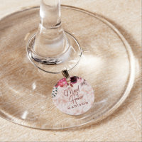 Burgundy Floral & Rose Gold Wedding Maid of Honor Wine Glass Charm