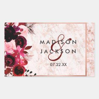 Burgundy Floral & Rose Gold Wedding Monogram Rectangular Sticker