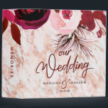 """Burgundy Floral &amp; Rose Gold Wedding Photo Album 3 Ring Binder<br><div class=""""desc"""">Burgundy Floral &amp; Rose Gold Marbled Elegant Winter Wedding Photo Album With trendy Hand Lettered Script font! ~ Check my shop to see the entire wedding collection with this design!</div>"""