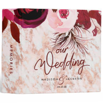 Burgundy Floral & Rose Gold Wedding Photo Album 3 Ring Binder
