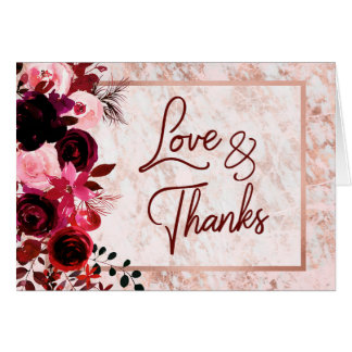 Burgundy Floral & Rose Gold Wedding Thank You Card