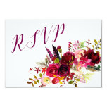 Burgundy Floral RSVP reply, entree choices 3979 Card