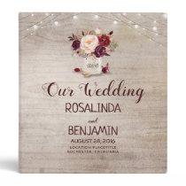 Burgundy Floral Rustic Mason Jar Wedding 3 Ring Binder